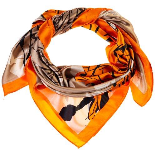 Шелковый платок на шею/Платок шелковый на голову/женский/Шейный шелковый платок/стильный/модный /21kdgPL902901-5vr оранжевый, бежевый/Vittorio Richi/80% шелк,20% полиэстер/90x90