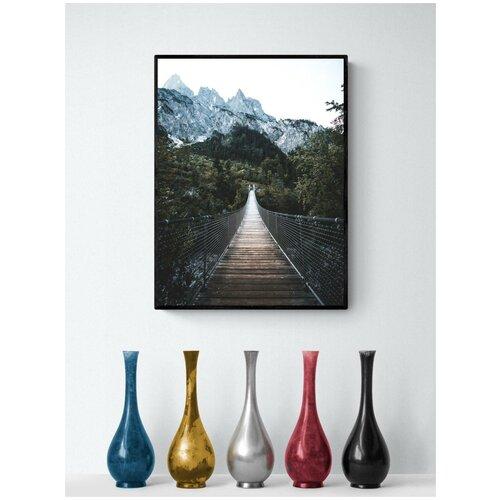 Плакат Просто Постер Подвесной мост над лесом 60x90 в раме