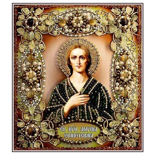 Купить Набор для вышивания хрустальными бусинами и настоящими камнями, Образа в каменьях, Мария Египетская , Наборы для вышивания