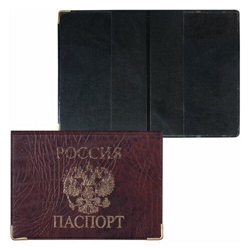 Обложка для паспорта горизонтальная с гербом, ПВХ под кожу, печать золотом, цвет ассорти, ОД-01, 6 шт.