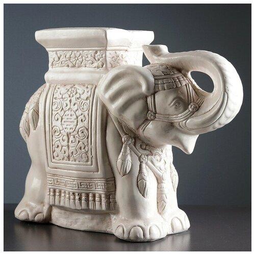 Фигура - подставка Слон состаренный 23х59х45см фигура подставка слон с листком перламутр золото 30х30х30см