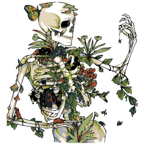 Купить Картина по номерам Цветочный скелет, 50 х 70 см, Красиво Красим, Картины по номерам и контурам