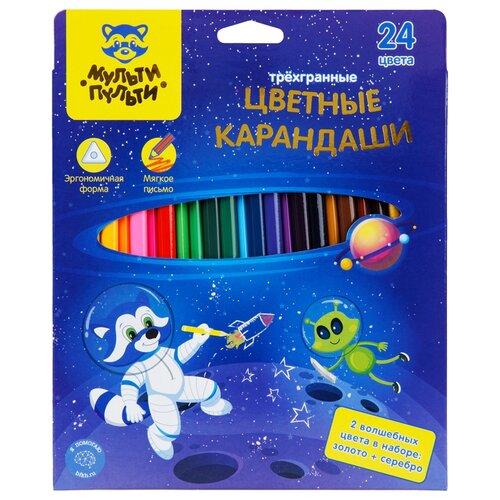 Мульти-Пульти Карандаши цветные Енот в космосе, 24 цвета (CP_29300) мульти пульти карандаши цветные енот в испании 24 цвета cp 10758