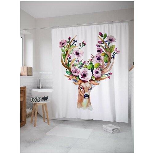 Фото - Штора для ванной JoyArty Олень с цветами в рогах 180х200 (sc-126833) штора для ванной joyarty солдаты в бою 180х200 sc 19581