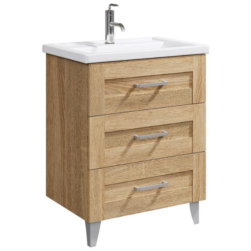 Тумба для ванной комнаты с раковиной Aqwella Foster (FOS01073DS) + Фостер 700 (4620008197746), ШхГхВ: 66.4х45х77.8 см, цвет: дуб сонома недорого