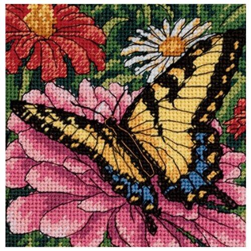Dimensions Набор для вышивания Гобелен Butterfly on Zinnia (Бабочка на циннии) 13 х 13 см (07232)
