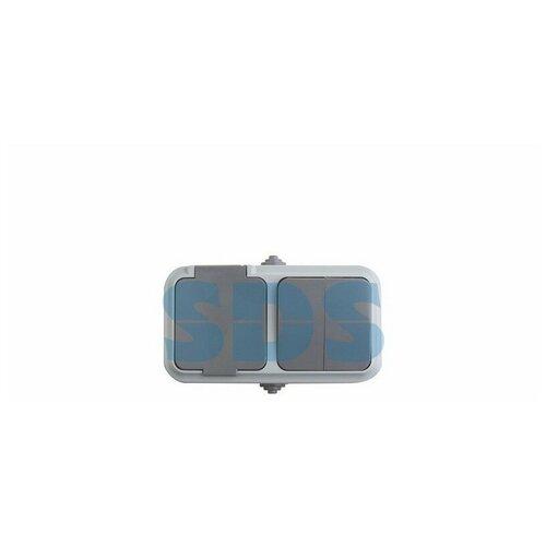 Выключатель двухклавишный + розетка влагозащищенная для открытой установки REXANT IP54, выключатель 10 А, розетка б/з 16 А, 2В-РЦ-655(03)