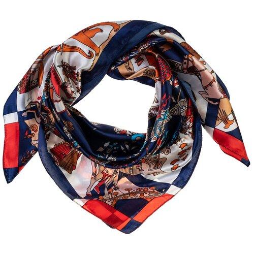 Шелковый платок на шею/Платок шелковый на голову/женский/Шейный шелковый платок/стильный/модный /21kdgPL903001-4vr синий,красный/Vittorio Richi/80% шелк,20% полиэстер/90x90