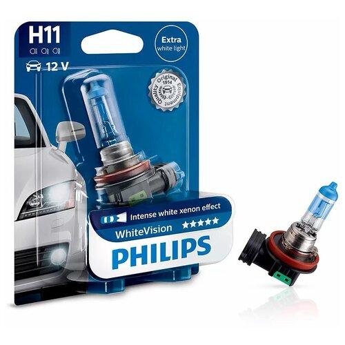 Лампа галогенная Philips WhiteVision H11 12V 55W PGJ19-2, 1 шт. (блистер)