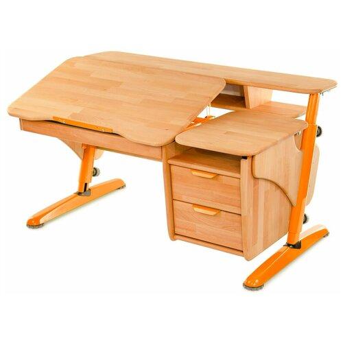 Фото - Стол детский PONDI Эргономик с тумбой ЭКО 120x75 см бук/оранжевый школьные парты tct nanotec стол эргономик м6 xs