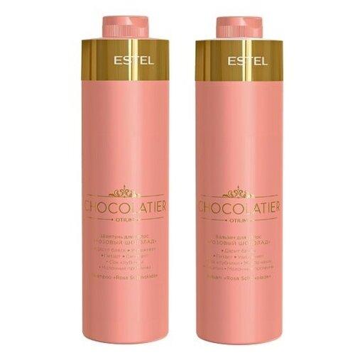 Фото - Комплект Estel Professional Розовый шоколад OTIUM CHOCOLATIER для увлажнения и питания волос (шампунь 1000 мл + бальзам 1000 мл) estel professional бальзам otium chocolatier белый шоколад 200 мл
