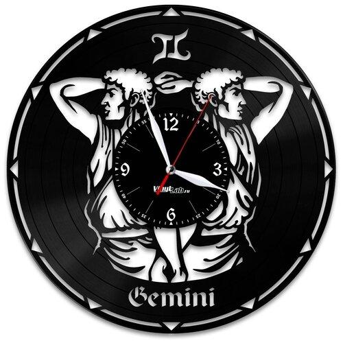 Часы из виниловой пластинки (c) VinylLab Знак зодиака «Близнецы»