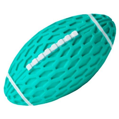 Игрушка для собак Homepet Silver Series мяч регби с пищалкой каучук бирюзовый 14,5 х 8,2 х 7,9 см (1 шт)