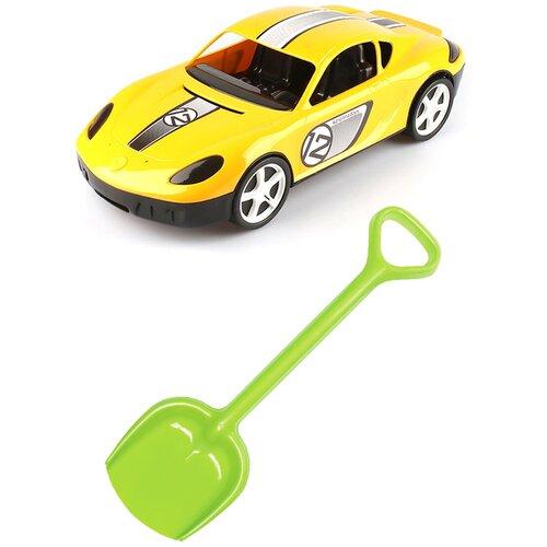 Купить Детский игровой набор для песочницы: Детский автомобиль Молния желтый + Лопатка 50 см. салатовая, КАРОЛИНА ТОЙЗ, Karolina toys, Наборы в песочницу