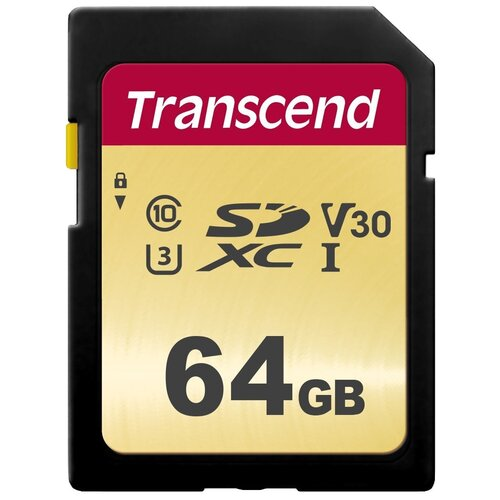 Фото - Карта памяти Transcend TS*SDC500S 64 GB, чтение: 95 MB/s, запись: 60 MB/s карта памяти transcend ts sdxc10 128 gb запись 16 mb s