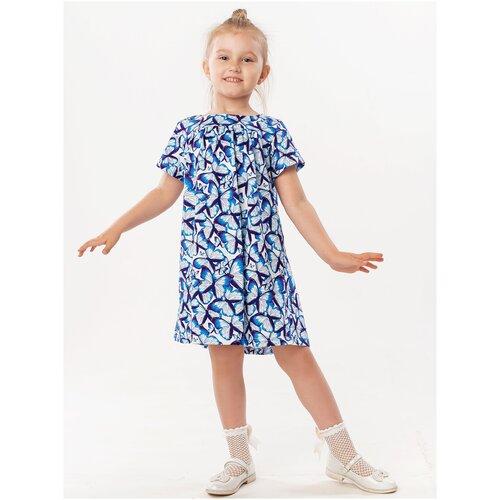 Платье 5+ Детство, 110 р.; бабочки; голубой, синий, белый
