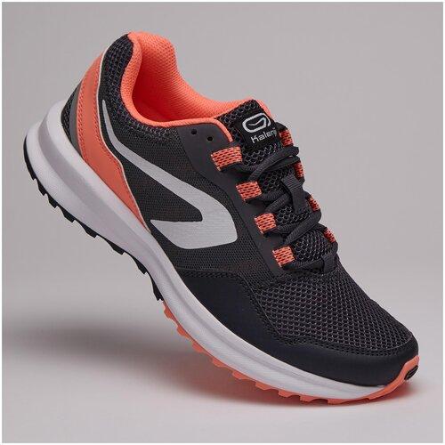 Кроссовки для бега женские RUN ACTIVE GRIP черно-коралловые, размер: 40, цвет: Серая Пропасть KALENJI Х Декатлон
