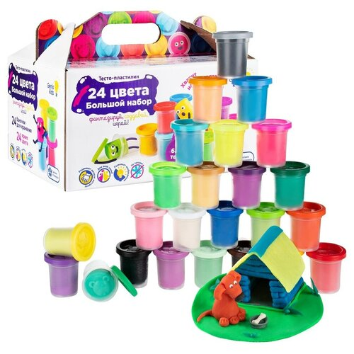 Купить Набор для детской лепки Тесто-пластилин 24 баночки , Genio Kids, Пластилин и масса для лепки