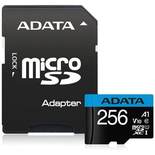 Фото - Карта памяти ADATA Premier microSDXC UHS-I U1 V10 A1 Class10 + SD adapter 256 GB, чтение: 100 MB/s, запись: 25 MB/s, адаптер на SD карта памяти adata 256gb microsdxc class 10 uhs i a1 100 25 mb s sd адаптер ausdx256guicl10a1 ra1