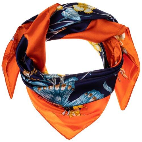 Шелковый платок на шею/Платок шелковый на голову/женский/Шейный шелковый платок/стильный/модный /21kdgPL903006-2vr синий,желтый/Vittorio Richi/80% шелк,20% полиэстер/90x90