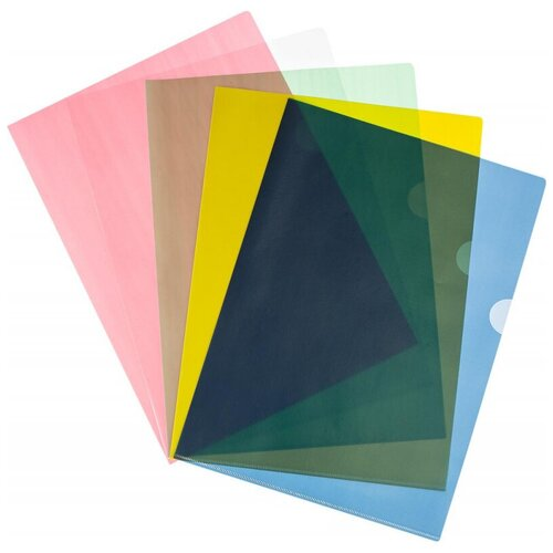 Папка уголок А4 100 Attache цвет в ассортименте 100 мкм 10 шт/уп, 4 уп