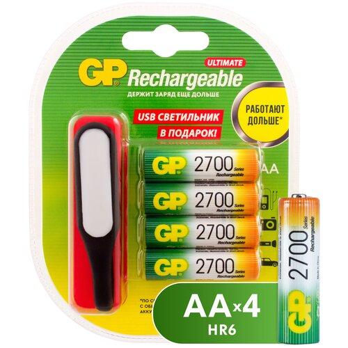 Фото - Аккумулятор Ni-Mh 2700 мА·ч GP Rechargeable 2700 Series AA + USB светильник, 4 шт. светильник керамический овечка