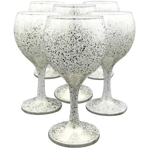Набор стеклянных бокалов для вина, 6 штук, 210 мл, цвет белый с золотистым напылением, MARMA MM-SET-88