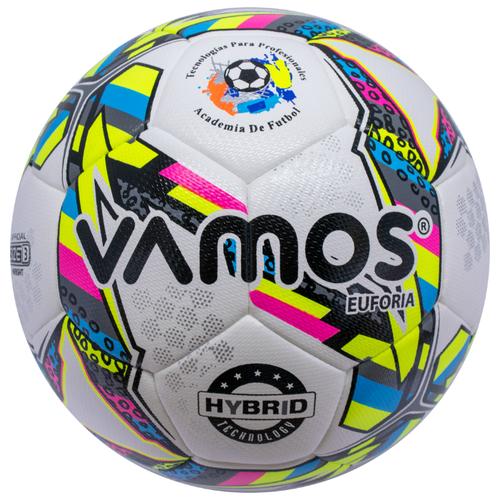 Мяч футбольный Vamos EUFORIA HYBRID №3, 3 размер, белый, розовый, желтый