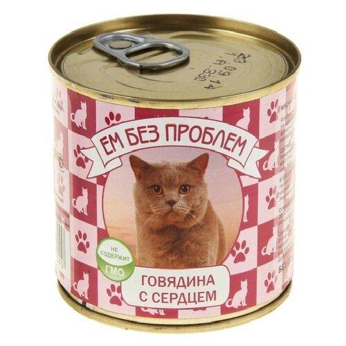 Фото - Влажный корм для кошек Ем Без Проблем беззерновой, с говядиной, с сердцем 26 шт. х 250 г ем без проблем для взрослых кошек с говядиной 571 595 250 гр х 15 шт