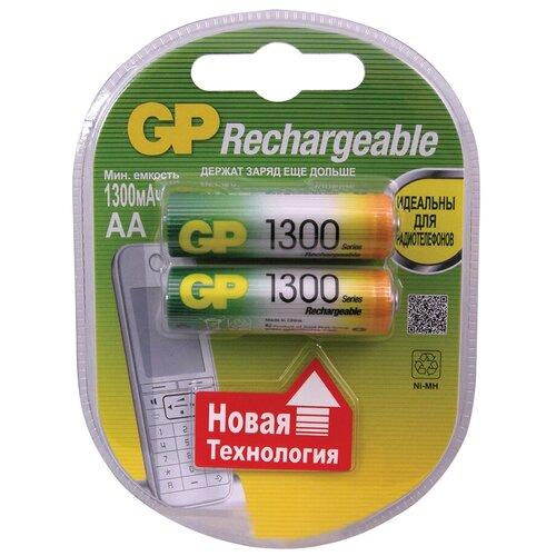 Фото - Аккумулятор Ni-Mh 1300 мА·ч GP Rechargeable 1300 Series AA, 2 шт. аккумулятор ni mh 950 ма·ч gp rechargeable 1000 series aaa 6 шт