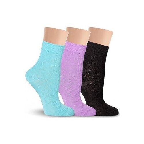 Тонкие летние LorenzLine Д36 женские носки, 90% микромодал, Голубой, 23 (размер обуви 36-37)