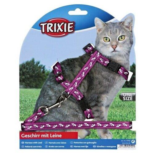 Шлейка с поводком для кошки 35-45 см/10 мм/1.20 м, нейлон с рисунком