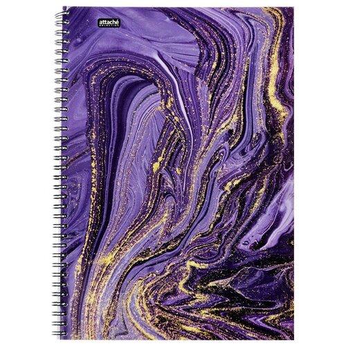 Бизнес-тетрадь Attache Selection А4,96л, клетка, гребень, Fluid Фиолетовый