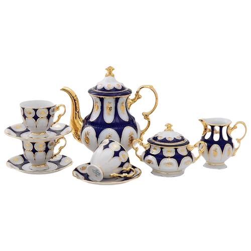 Фото - Сервиз кофейный Соната Темно-синий орнамент с золотом, на 6 персон, 15 пр., Leander сервиз чайный соната темно синий орнамент с розами 15 пр 07160725 0440 leander
