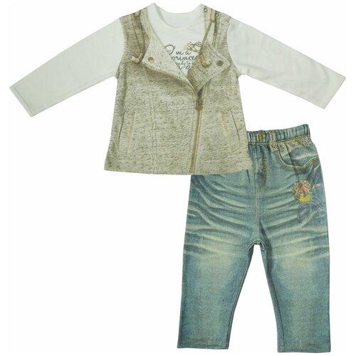 Купить Комплект одежды Папитто размер 80, белый/синий, Комплекты