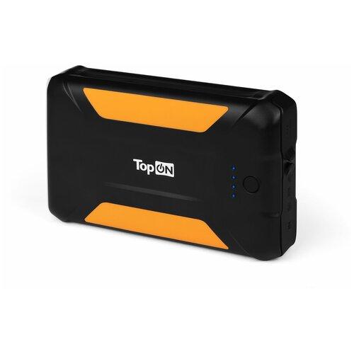 Внешний аккумулятор TopON X38 38000mAh 3 USB-порта, автомобильная розетка 12V 15A 180W, аварийный свет, фонарь, защита от пыли и брызг. Черный