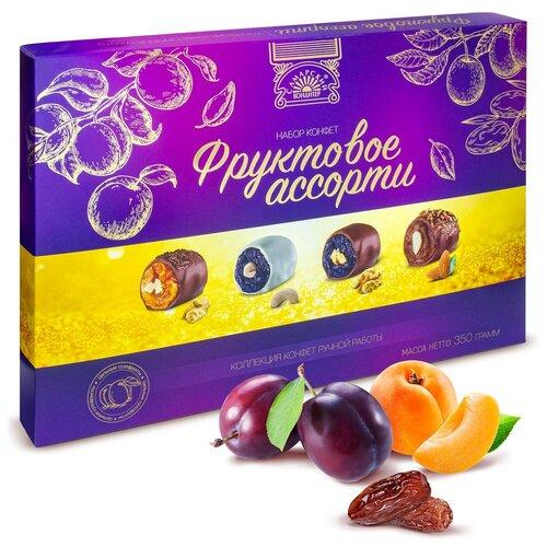 Фруктовое ассорти Самарский кондитер, темный шоколад, сахарная глазурь, кешью, 350 г