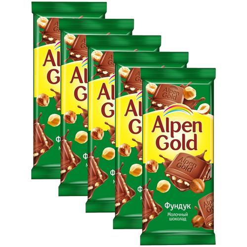 alpen gold шоколад молочный с соленым арахисом и крекером 5 шт по 85 г Alpen Gold Шоколад молочный с дробленым фундуком, 5 шт по 85 г