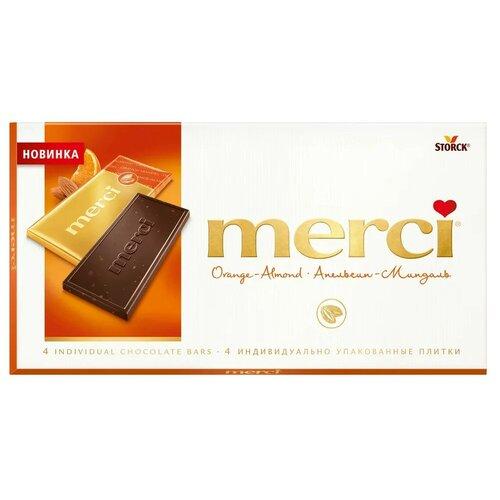 Шоколад Merci горький с апельсином и миндалем, порционный, 100 г шоколад libertad royal горький с апельсином 2 3 кг
