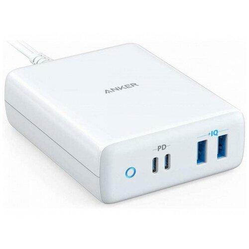 Фото - Сетевое зарядное устройство Anker PowerPort PD+ 4 100W 2xUSB + 2xUSB-C Белое сетевое зарядное устройство hama h 183376 2xusb 2xusb type c набор разъемов 2a черный