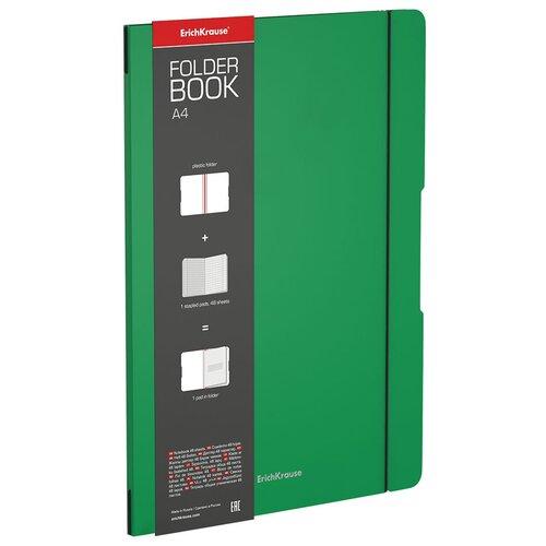 ErichKrause Упаковка тетрадей FolderBook Classic 48227 в съемной пластиковой обложке, 4 шт., клетка, 48 л., зеленый тетрадь общая ученическая в съемной пластиковой обложке erichkrause folderbook accent красный а5 48 листов клетка
