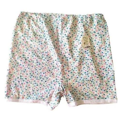 Русский стиль Трусы Панталоны короткие высокой посадки, размер 52, белый/цветочный принт