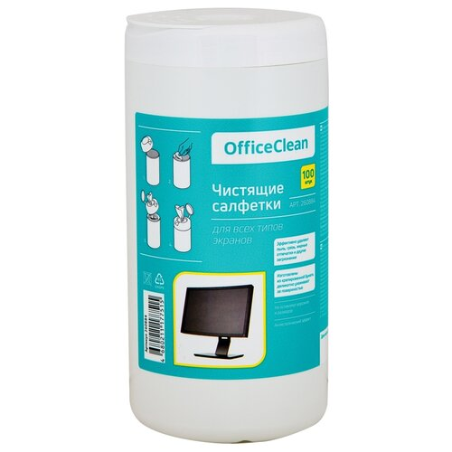 OfficeClean 260884 влажные салфетки 100 шт. для экрана