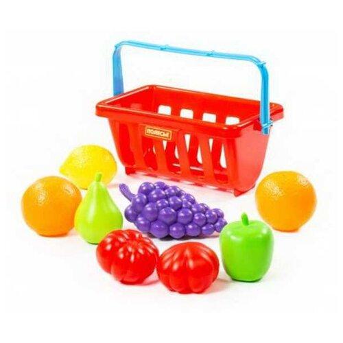 Купить Набор продуктов с корзинкой №2 (9 элементов) (в сеточке), Полесье, Игрушечная еда и посуда