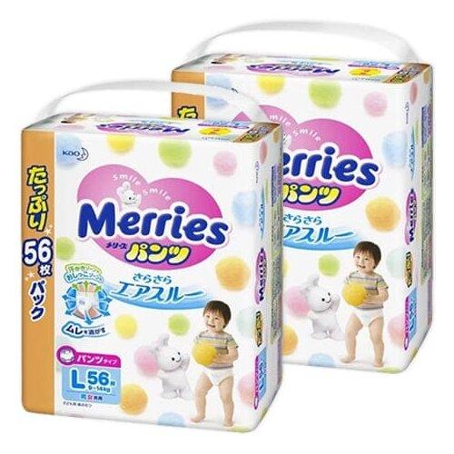 Купить Merries трусики L (9-14 кг), 112 шт., Подгузники