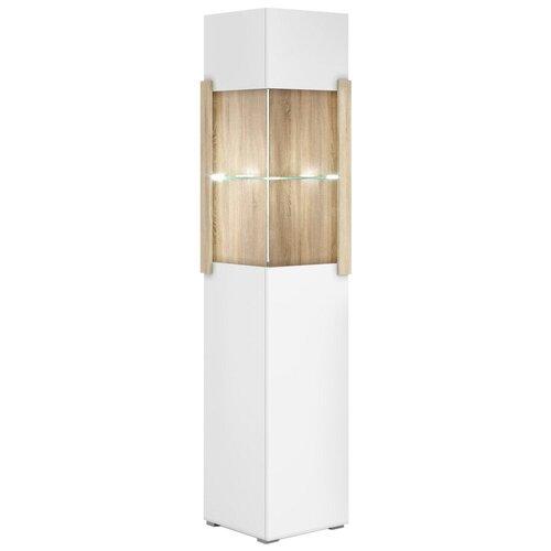Фото - Шкаф-витрина для посуды Принцесса Мелания Куба 1707, (ШхГхВ): 44.8х39.5х199.5 см, белый/дуб сонома витрина шкаф витрина 4 х дверная куба куба