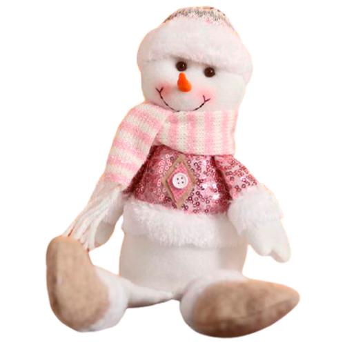 Мягкая игрушка Зимнее волшебство Снеговик в розовых пайетках - длинные ножки 37 см