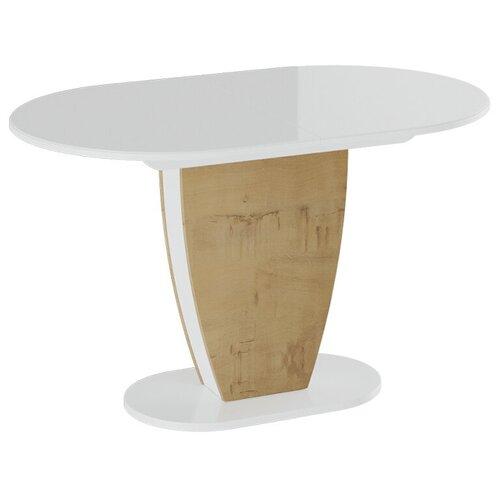 Стол кухонный ТриЯ Монреаль Тип-1, раскладной, ДхШ: 130 х 80 см, длина в разложенном виде: 161.5 см, Белый глянец/Бунратти стол кухонный трия т1 раскладной дхш 23 2 х 80 см длина в разложенном виде 160 см венге цаво