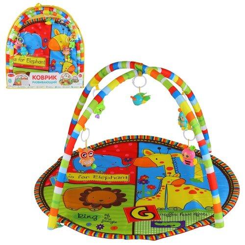 Детский коврик развивающий для малышей Smart Baby с подвесками-погремушками, коврик для ползания детский, коврик для детей, игровой коврик детский, коврик для малышей, коврик для ребенка, коврик для детей игровой, мягкий, размер 85 х 85 см, жираф и львенок