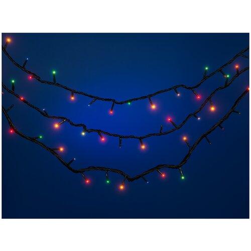 Электрогирлянда Snowmen новогодняя, наружная, гидроизоляция, 300 лампочек, многоцветная, 14,95 м + 5 м (Е50547)